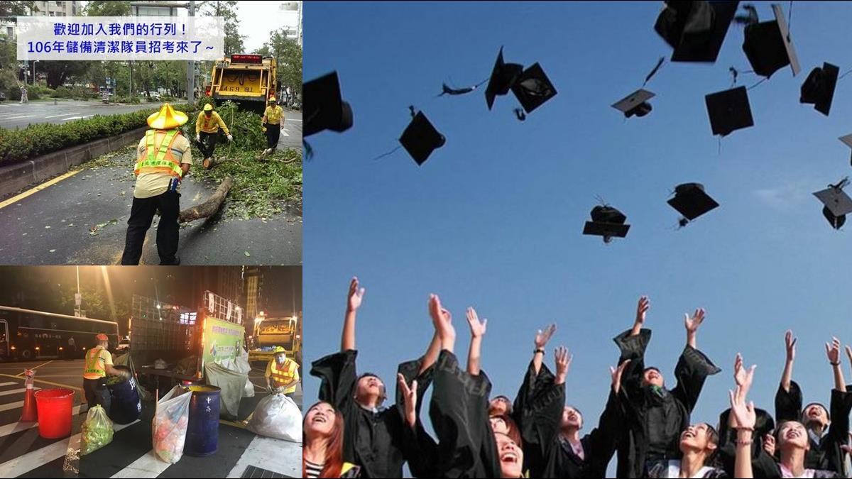 北市清潔隊錄取467人 「大學畢業生」佔4成比例最高