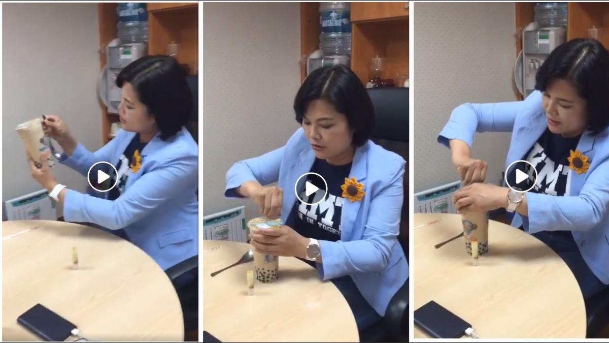 「別找人民麻煩好嗎?」她實測用湯匙喝珍奶結果超悲劇