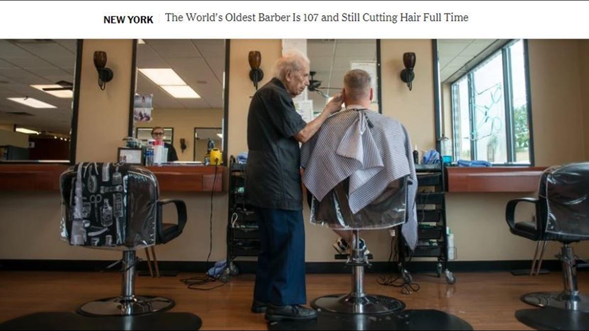 手腳比年輕人快!107歲人瑞理髮師站著日作8小時