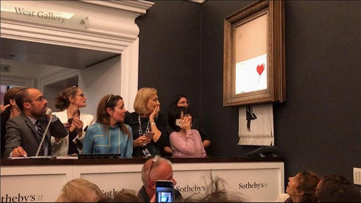 【影片】班克西名畫「自我毀滅」成碎紙!她仍出3489萬買下