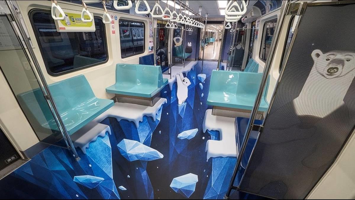 感受暖化危機!北捷推3D冰層彩繪車廂響應愛地球
